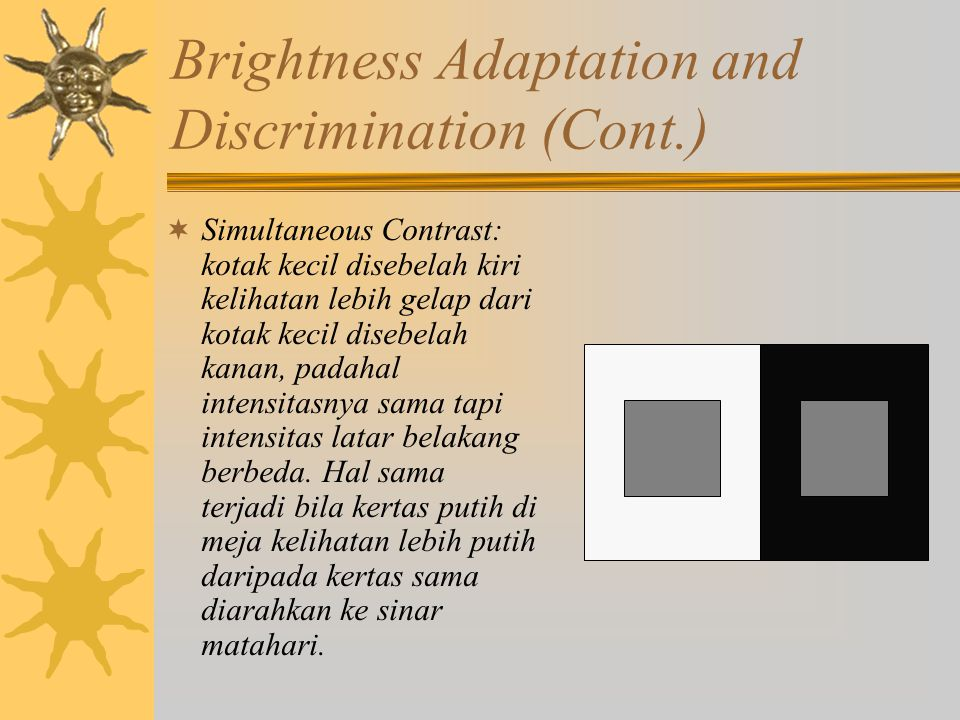 Brightness Adaptation and Discrimination (Cont.)  Simultaneous Contrast: kotak kecil disebelah kiri kelihatan lebih gelap dari kotak kecil disebelah kanan, padahal intensitasnya sama tapi intensitas latar belakang berbeda.