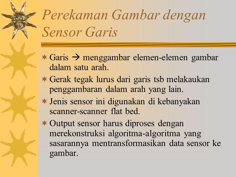 Perekaman Gambar dengan Sensor Garis  Garis  menggambar elemen-elemen gambar dalam satu arah.  Gerak tegak lurus dari garis tsb melakaukan penggamb
