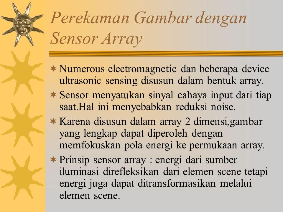 Perekaman Gambar dengan Sensor Array  Numerous electromagnetic dan beberapa device ultrasonic sensing disusun dalam bentuk array.