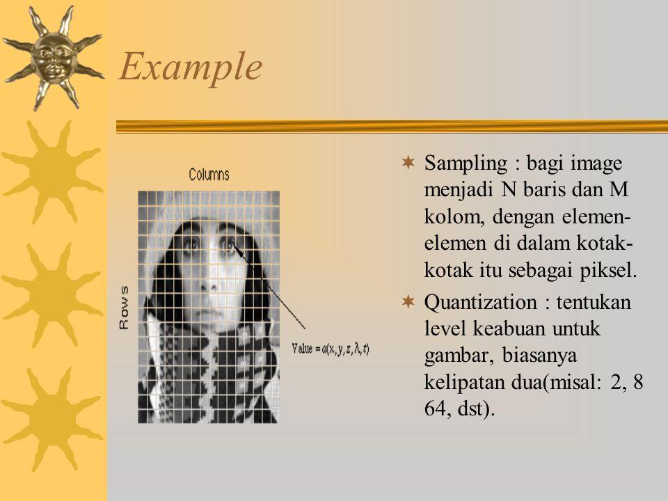 Example  Sampling : bagi image menjadi N baris dan M kolom, dengan elemen- elemen di dalam kotak- kotak itu sebagai piksel.