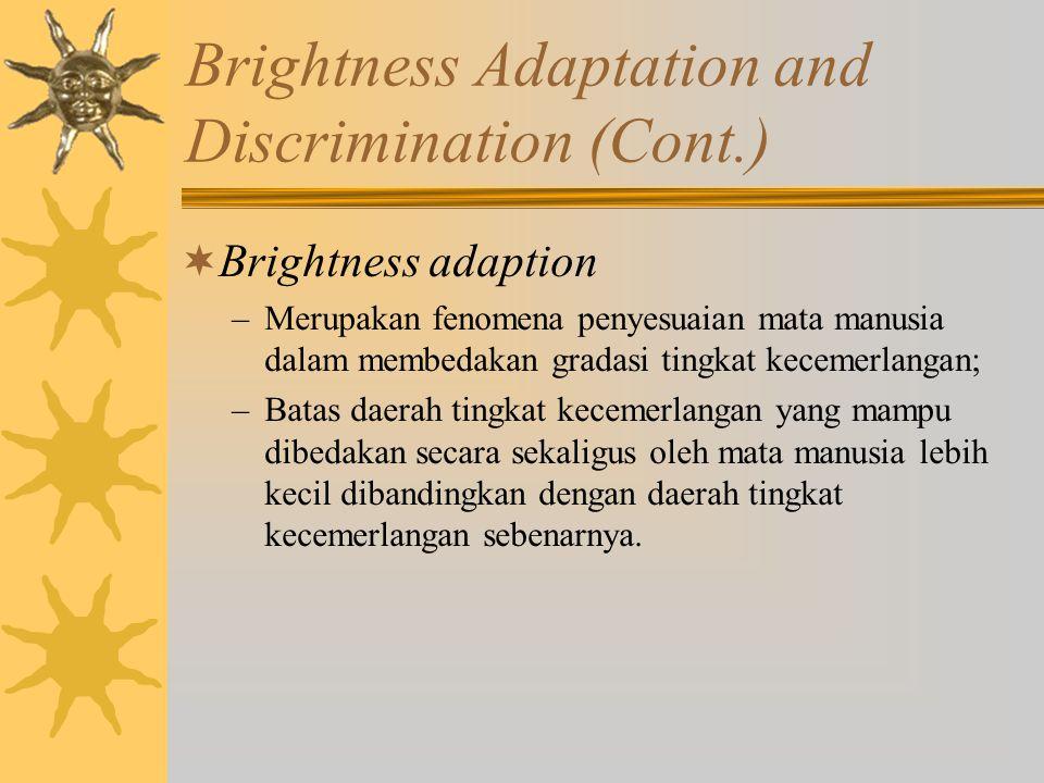 Brightness Adaptation and Discrimination (Cont.)  Brightness adaption –Merupakan fenomena penyesuaian mata manusia dalam membedakan gradasi tingkat k