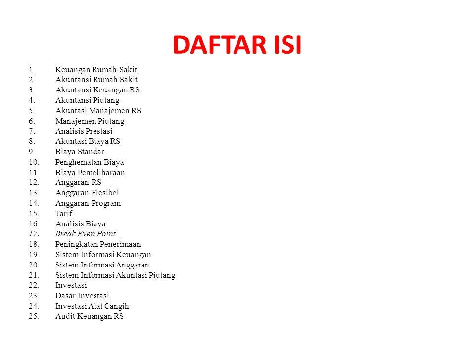 DAFTAR ISI 1.Keuangan Rumah Sakit 2.Akuntansi Rumah Sakit 3.Akuntansi Keuangan RS 4.Akuntansi Piutang 5.Akuntasi Manajemen RS 6.Manajemen Piutang 7.An