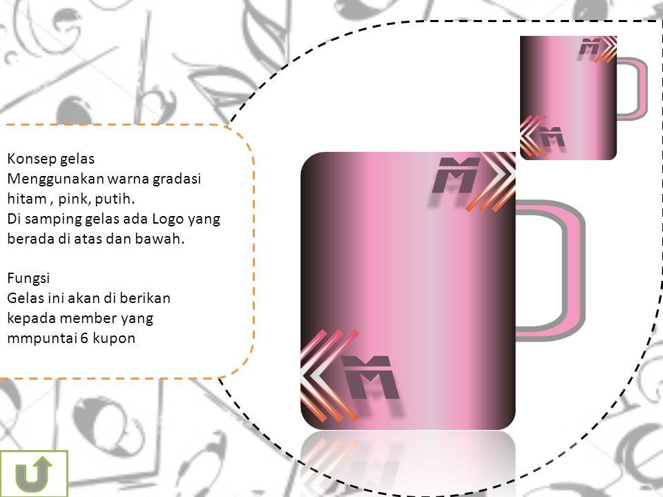 Konsep gelas Menggunakan warna gradasi hitam, pink, putih.