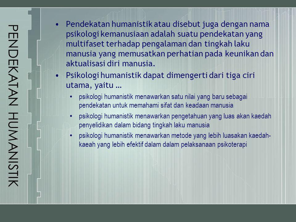 PENDEKATAN HUMANISTIK Pendekatan humanistik atau disebut juga dengan nama psikologi kemanusiaan adalah suatu pendekatan yang multifaset terhadap penga