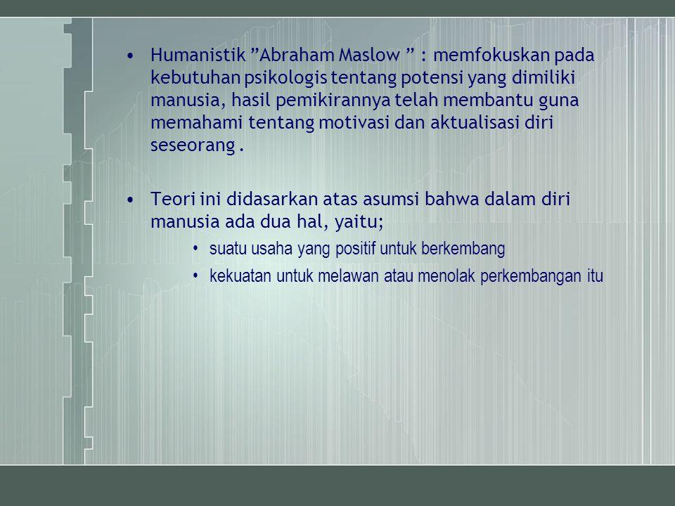 """Humanistik """"Abraham Maslow """" : memfokuskan pada kebutuhan psikologis tentang potensi yang dimiliki manusia, hasil pemikirannya telah membantu guna mem"""