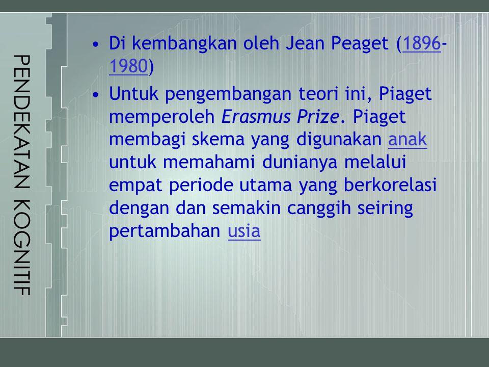 PENDEKATAN KOGNITIF Di kembangkan oleh Jean Peaget (1896- 1980)1896 1980 Untuk pengembangan teori ini, Piaget memperoleh Erasmus Prize. Piaget membagi