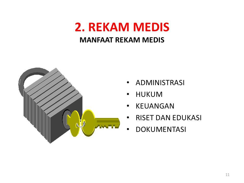 11 2. REKAM MEDIS MANFAAT REKAM MEDIS ADMINISTRASI HUKUM KEUANGAN RISET DAN EDUKASI DOKUMENTASI