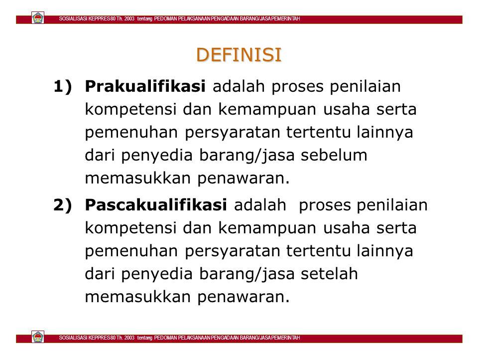 SOSIALISASI KEPPRES 80 Th.2003 tentang PEDOMAN PELAKSANAAN PENGADAAN BARANG/JASA PEMERINTAH 3.