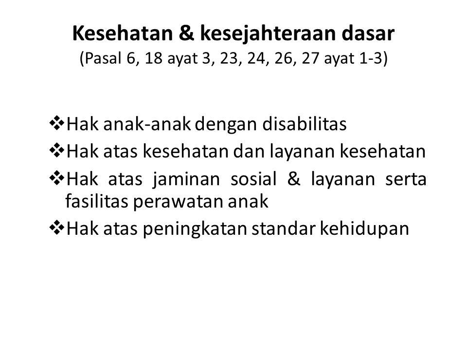Kesehatan & kesejahteraan dasar (Pasal 6, 18 ayat 3, 23, 24, 26, 27 ayat 1-3)  Hak anak-anak dengan disabilitas  Hak atas kesehatan dan layanan kese