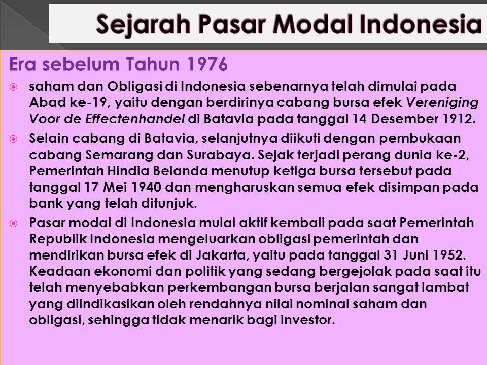 Era sebelum Tahun 1976  saham dan Obligasi di Indonesia sebenarnya telah dimulai pada Abad ke-19, yaitu dengan berdirinya cabang bursa efek Verenigin