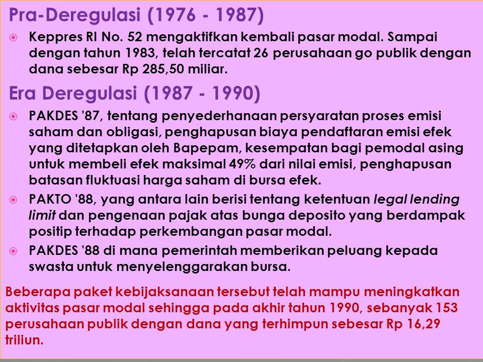 Pra-Deregulasi (1976 - 1987)  Keppres RI No. 52 mengaktifkan kembali pasar modal. Sampai dengan tahun 1983, telah tercatat 26 perusahaan go publik de