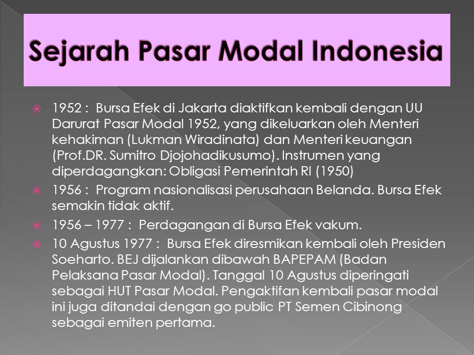  1952 : Bursa Efek di Jakarta diaktifkan kembali dengan UU Darurat Pasar Modal 1952, yang dikeluarkan oleh Menteri kehakiman (Lukman Wiradinata) dan