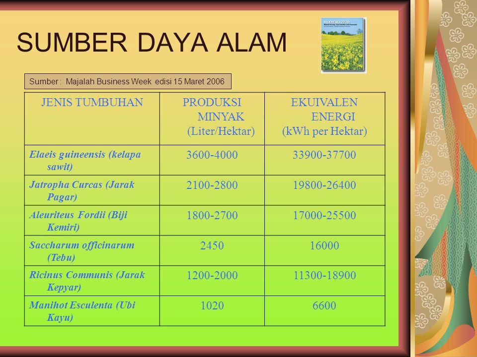 SUMBER DAYA ALAM JENIS TUMBUHANPRODUKSI MINYAK (Liter/Hektar) EKUIVALEN ENERGI (kWh per Hektar) Elaeis guineensis (kelapa sawit) 3600-400033900-37700