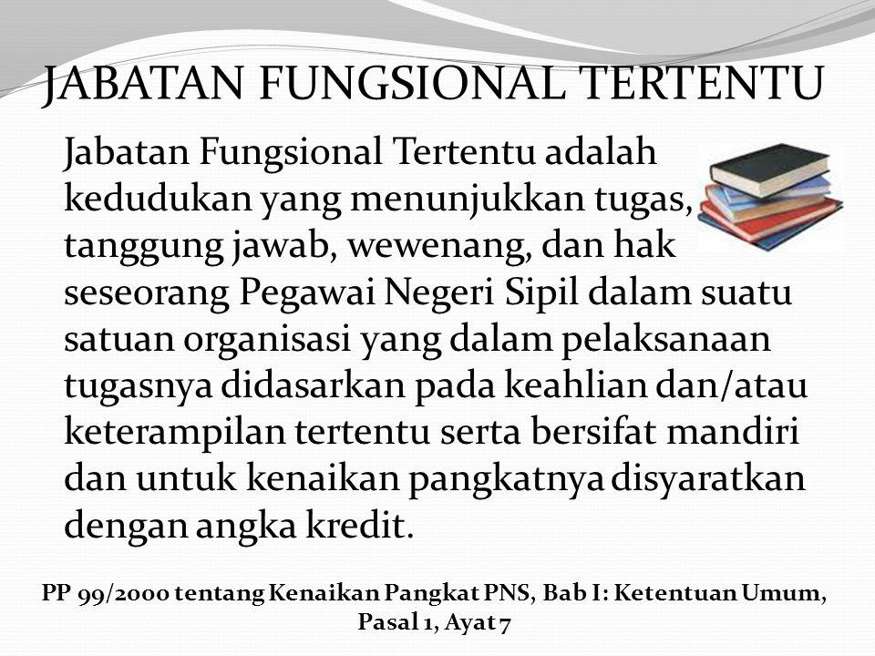 Jabatan fungsional adalah kedudukan yang menunjukkan tugas, tanggung jawab, wewenang dan hak seseorang Pegawai Negeri Sipil dalam suatu satuan organis
