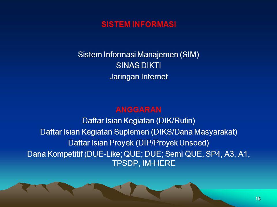 17 ORGANISASI DAN MANAJEMEN Berdasarkan SK Mendikbud RI. No. 0116/0/1993 UNSUR PIMPINAN Rektor Pembantu Rektor I (Bidang Akademik) Pembantu Rektor II
