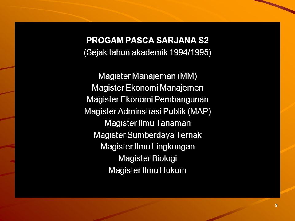 8 PROGRAM STUDI DIPLOMA 3 (D3) Fakultas Ekonomi Adminstrai Keuangan Kesekretariatan Akutansi Fakultas Peternakan PTUP (Produksi Ternak Unggas dan Pera
