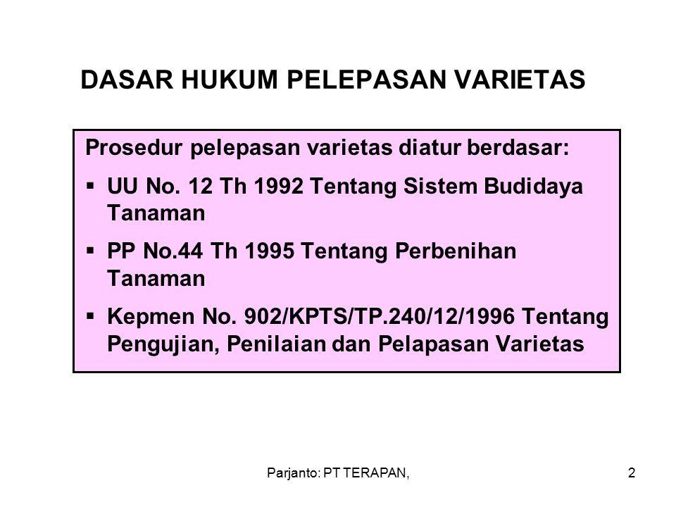 Parjanto: PT TERAPAN,2 DASAR HUKUM PELEPASAN VARIETAS Prosedur pelepasan varietas diatur berdasar:  UU No.