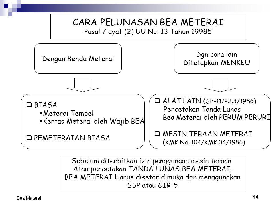 14 Bea Materai CARA PELUNASAN BEA METERAI Pasal 7 ayat (2) UU No. 13 Tahun 19985 Dengan Benda Meterai Dgn cara lain Ditetapkan MENKEU  BIASA  Metera