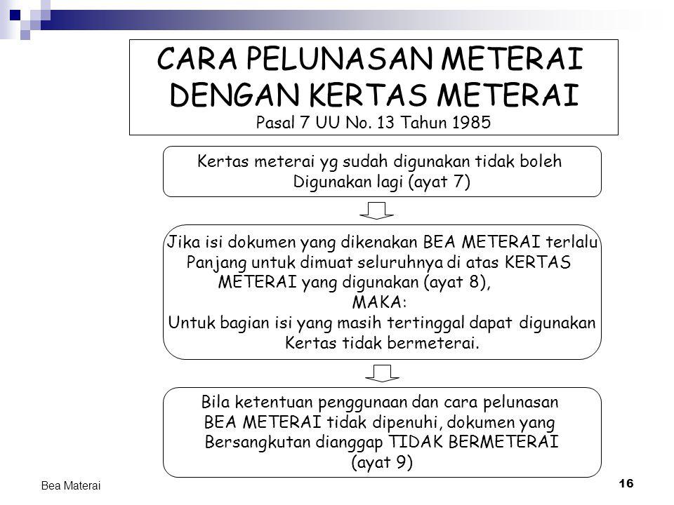 16 Bea Materai CARA PELUNASAN METERAI DENGAN KERTAS METERAI Pasal 7 UU No. 13 Tahun 1985 Kertas meterai yg sudah digunakan tidak boleh Digunakan lagi