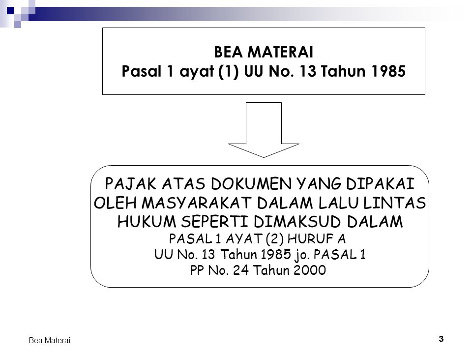 3 Bea Materai PAJAK ATAS DOKUMEN YANG DIPAKAI OLEH MASYARAKAT DALAM LALU LINTAS HUKUM SEPERTI DIMAKSUD DALAM PASAL 1 AYAT (2) HURUF A UU No. 13 Tahun