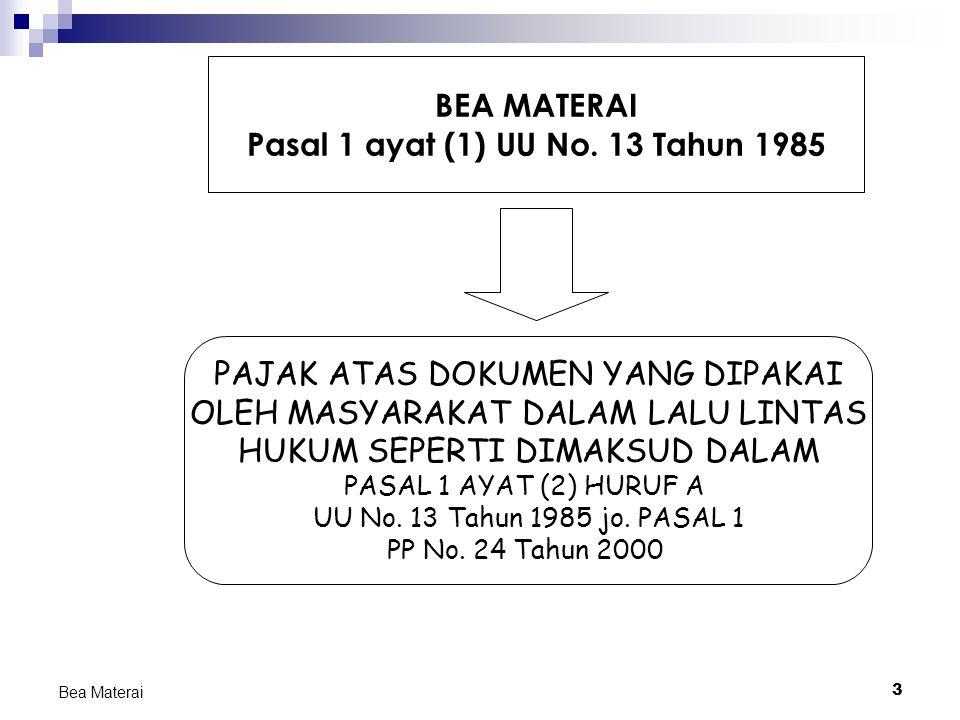4 Bea Materai DASAR HUKUM BEA MATERAI Undang undang UU No.
