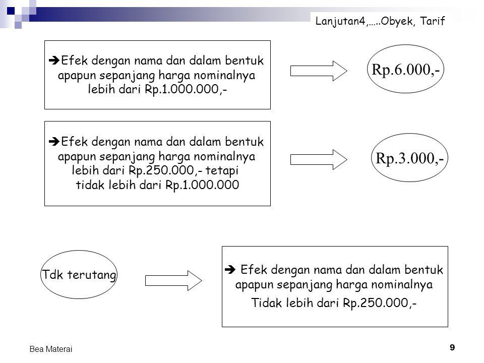 9 Bea Materai  Efek dengan nama dan dalam bentuk apapun sepanjang harga nominalnya lebih dari Rp.1.000.000,- Lanjutan4,…..Obyek, Tarif  Efek dengan
