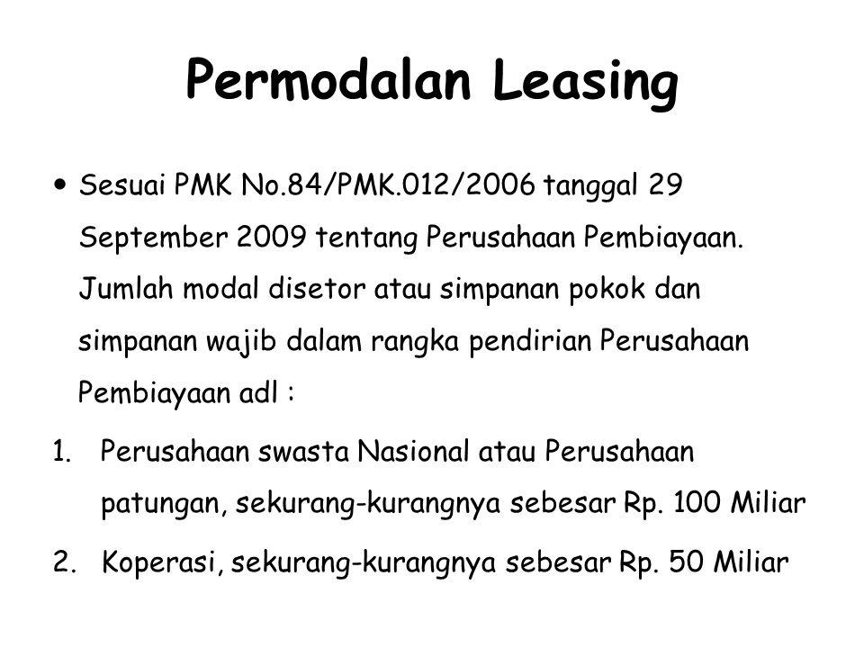 Permodalan Leasing Sesuai PMK No.84/PMK.012/2006 tanggal 29 September 2009 tentang Perusahaan Pembiayaan. Jumlah modal disetor atau simpanan pokok dan