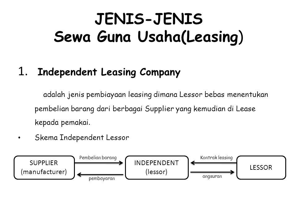 JENIS-JENIS Sewa Guna Usaha(Leasing) 1. Independent Leasing Company adalah jenis pembiayaan leasing dimana Lessor bebas menentukan pembelian barang da