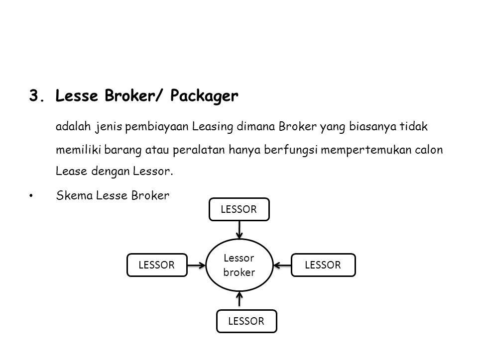 3.Lesse Broker/ Packager adalah jenis pembiayaan Leasing dimana Broker yang biasanya tidak memiliki barang atau peralatan hanya berfungsi mempertemuka