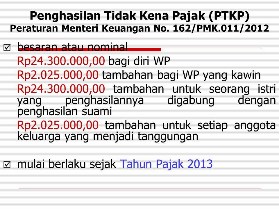  besaran atau nominal Rp24.300.000,00 bagi diri WP Rp2.025.000,00 tambahan bagi WP yang kawin Rp24.300.000,00 tambahan untuk seorang istri yang pengh