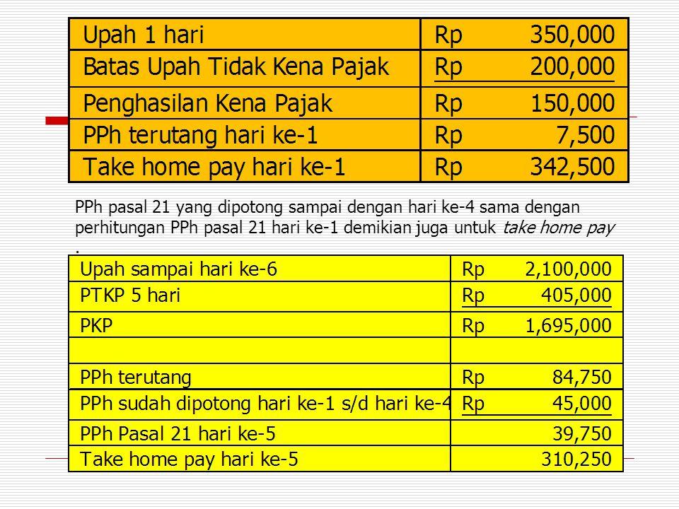 PPh pasal 21 yang dipotong sampai dengan hari ke-4 sama dengan perhitungan PPh pasal 21 hari ke-1 demikian juga untuk take home pay.