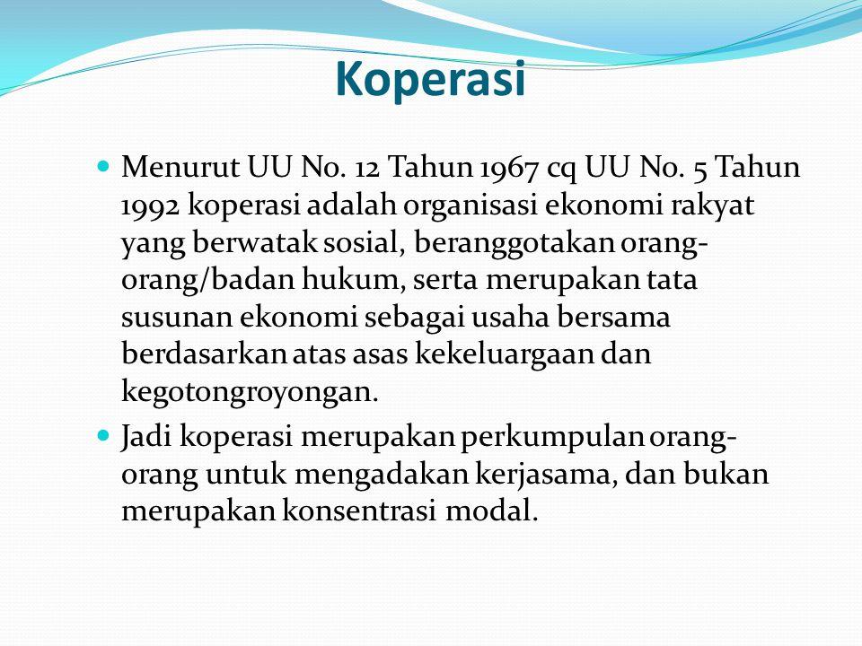Koperasi Menurut UU No. 12 Tahun 1967 cq UU No. 5 Tahun 1992 koperasi adalah organisasi ekonomi rakyat yang berwatak sosial, beranggotakan orang- oran