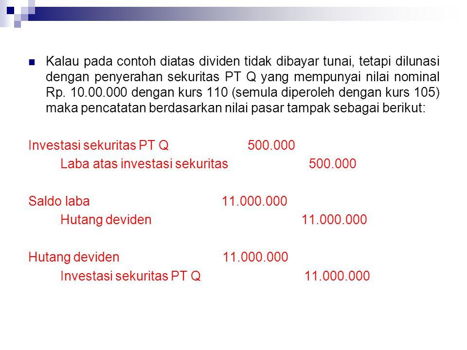 Kalau pada contoh diatas dividen tidak dibayar tunai, tetapi dilunasi dengan penyerahan sekuritas PT Q yang mempunyai nilai nominal Rp. 10.00.000 deng