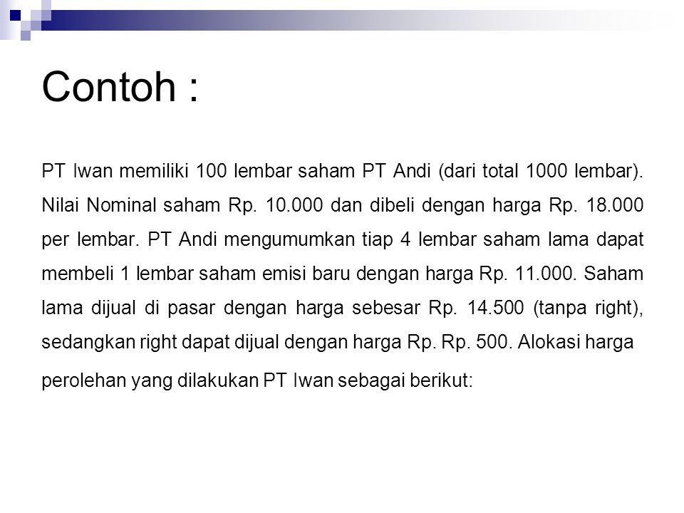 Contoh : PT Iwan memiliki 100 lembar saham PT Andi (dari total 1000 lembar). Nilai Nominal saham Rp. 10.000 dan dibeli dengan harga Rp. 18.000 per lem