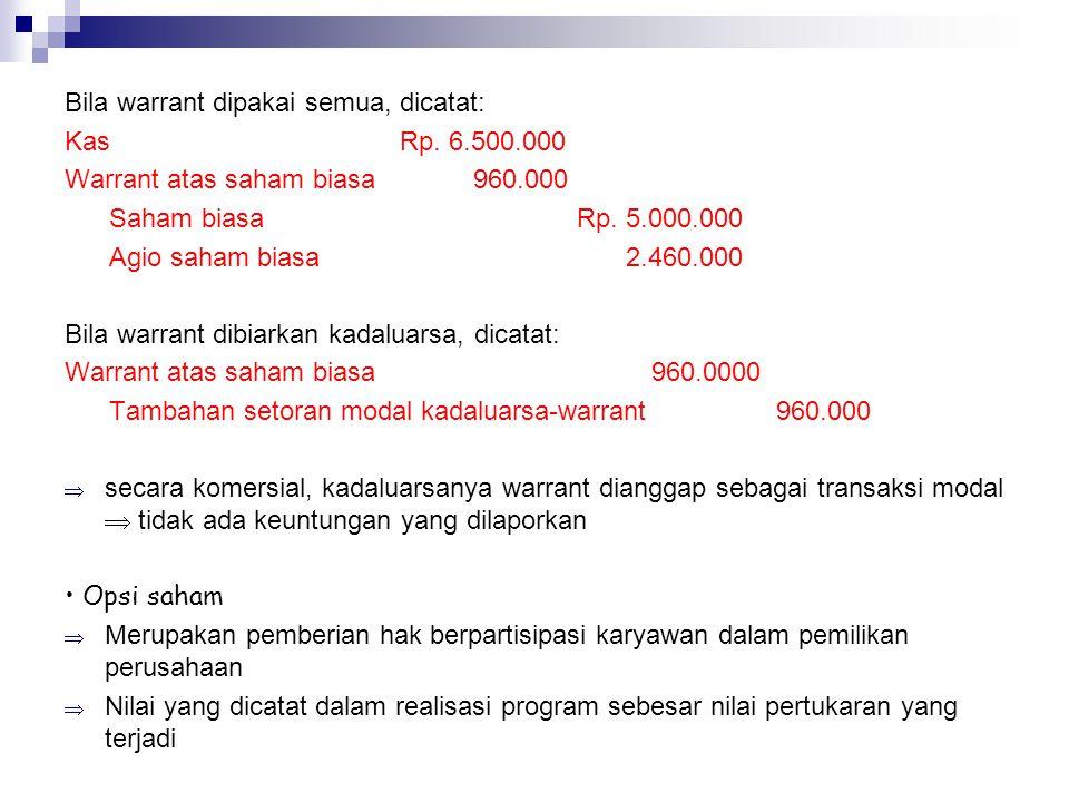Bila warrant dipakai semua, dicatat: Kas Rp. 6.500.000 Warrant atas saham biasa 960.000 Saham biasa Rp. 5.000.000 Agio saham biasa 2.460.000 Bila warr
