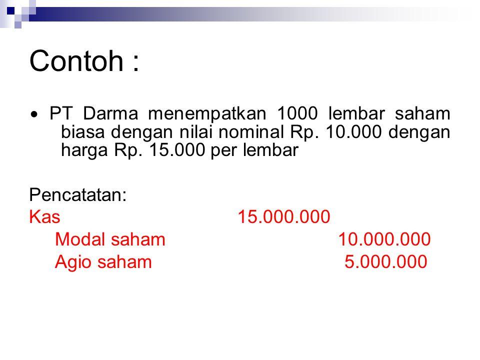 Contoh : ∙ PT Darma menempatkan 1000 lembar saham biasa dengan nilai nominal Rp. 10.000 dengan harga Rp. 15.000 per lembar Pencatatan: Kas 15.000.000