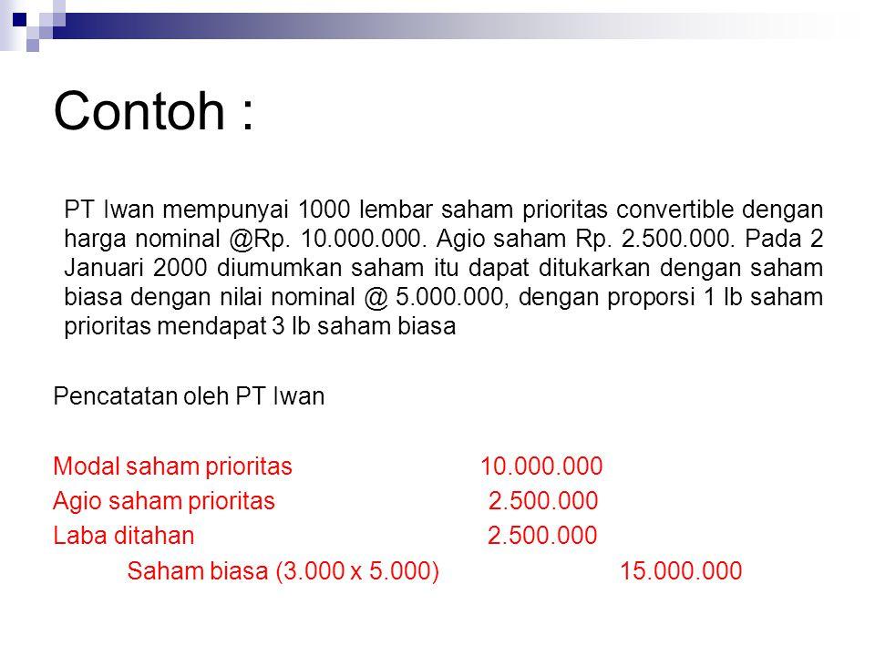 Contoh : PT Iwan mempunyai 1000 lembar saham prioritas convertible dengan harga nominal @Rp. 10.000.000. Agio saham Rp. 2.500.000. Pada 2 Januari 2000