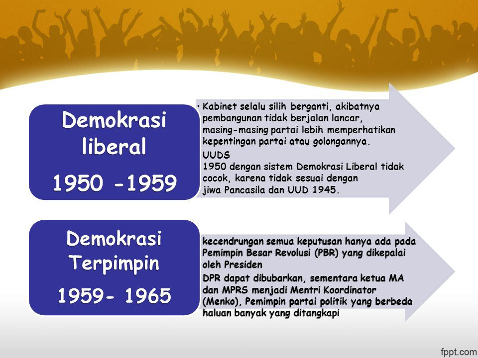 Kabinet selalu silih berganti, akibatnya pembangunan tidak berjalan lancar, masing-masing partai lebih memperhatikan kepentingan partai atau golongannya.