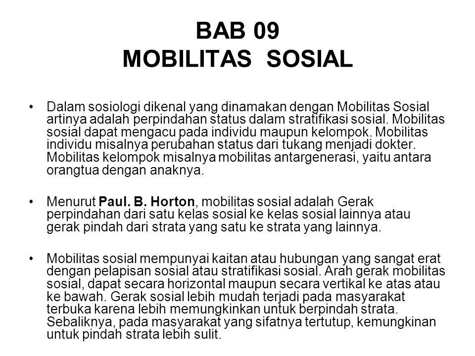 BAB 09 MOBILITAS SOSIAL Dalam sosiologi dikenal yang dinamakan dengan Mobilitas Sosial artinya adalah perpindahan status dalam stratifikasi sosial. Mo