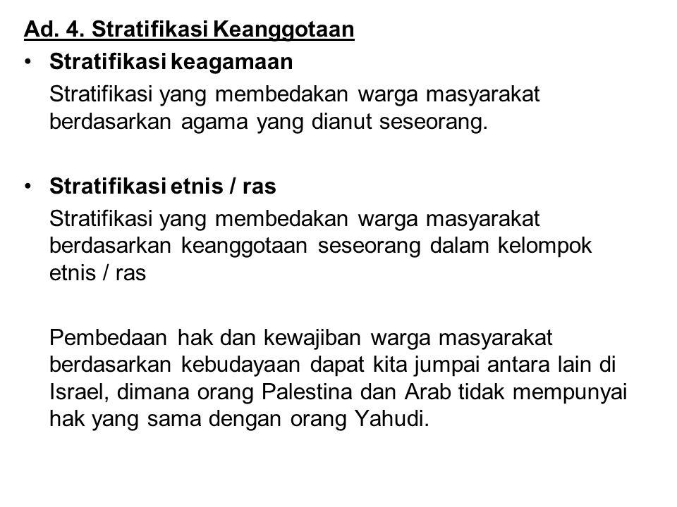Ad. 4. Stratifikasi Keanggotaan Stratifikasi keagamaan Stratifikasi yang membedakan warga masyarakat berdasarkan agama yang dianut seseorang. Stratifi