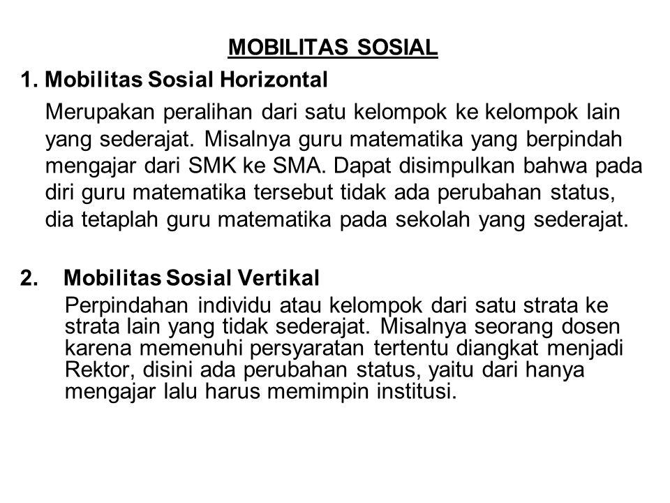 MOBILITAS SOSIAL 1. Mobilitas Sosial Horizontal Merupakan peralihan dari satu kelompok ke kelompok lain yang sederajat. Misalnya guru matematika yang