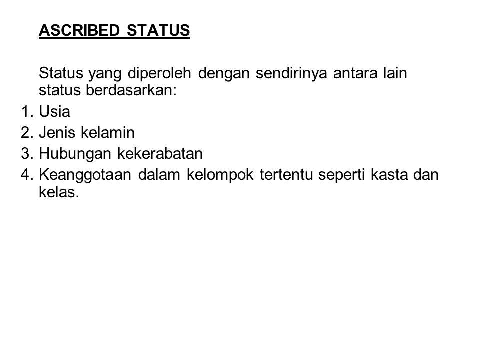 ASCRIBED STATUS Status yang diperoleh dengan sendirinya antara lain status berdasarkan: 1.Usia 2.Jenis kelamin 3.Hubungan kekerabatan 4.Keanggotaan da