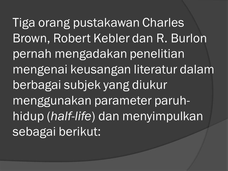 Tiga orang pustakawan Charles Brown, Robert Kebler dan R.