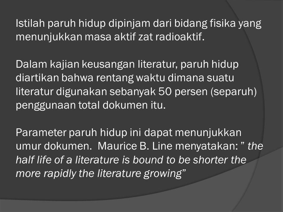 Istilah paruh hidup dipinjam dari bidang fisika yang menunjukkan masa aktif zat radioaktif.
