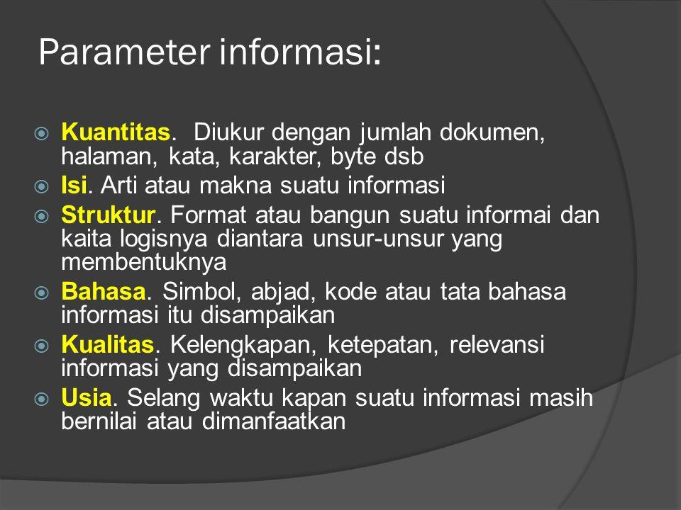 Parameter informasi:  Kuantitas.
