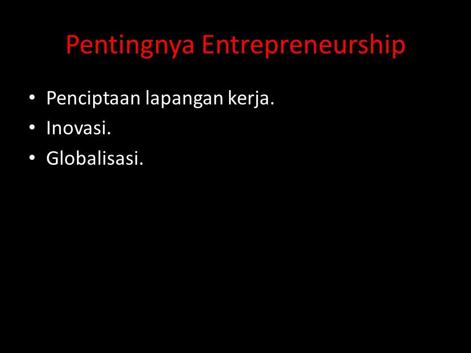 Pentingnya Entrepreneurship Penciptaan lapangan kerja. Inovasi. Globalisasi.