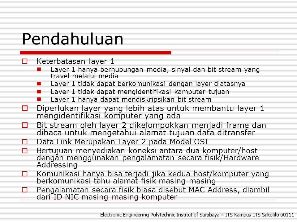 Electronic Engineering Polytechnic Institut of Surabaya – ITS Kampus ITS Sukolilo 60111 LLC (Logical Link Control) MAC (Media Access Control) Sublayer Data Link Terdiri dari dua bagian : Media Access Control (MAC), Sebagai perantara layer dibawahnya Logical Link Control (LLC), sbg perantara layer diatasnya