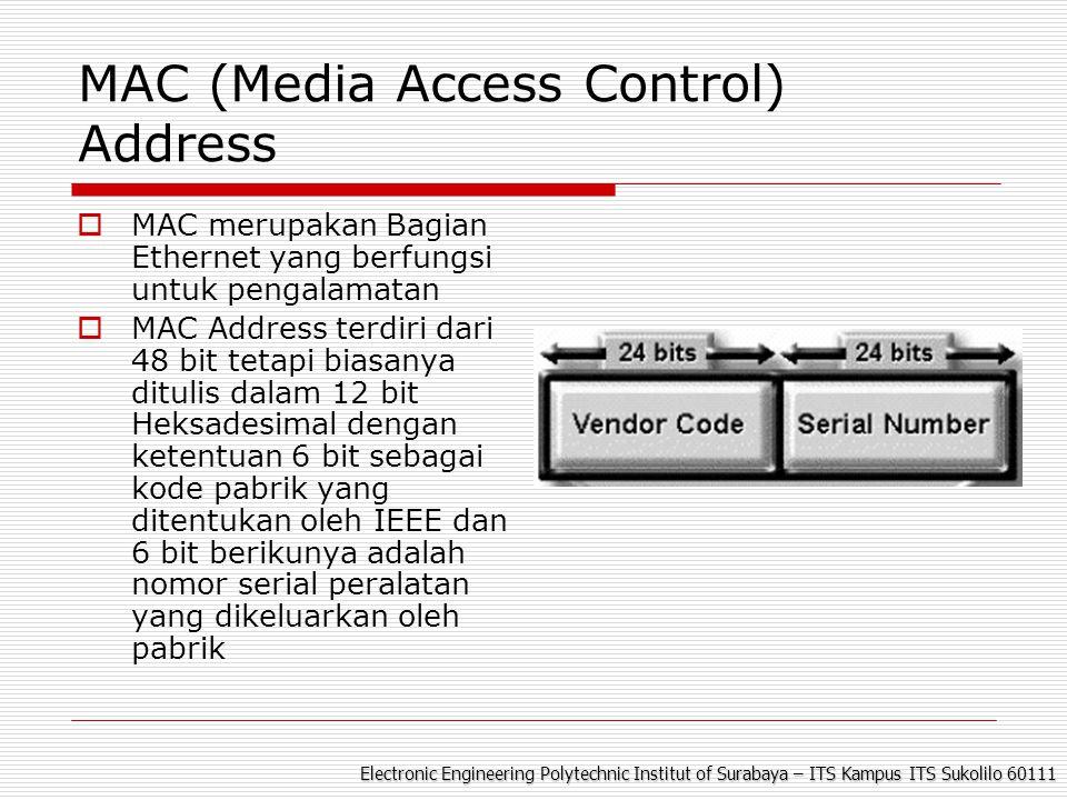 Electronic Engineering Polytechnic Institut of Surabaya – ITS Kampus ITS Sukolilo 60111 MAC (Media Access Control) Address  MAC merupakan Bagian Ethernet yang berfungsi untuk pengalamatan  MAC Address terdiri dari 48 bit tetapi biasanya ditulis dalam 12 bit Heksadesimal dengan ketentuan 6 bit sebagai kode pabrik yang ditentukan oleh IEEE dan 6 bit berikunya adalah nomor serial peralatan yang dikeluarkan oleh pabrik