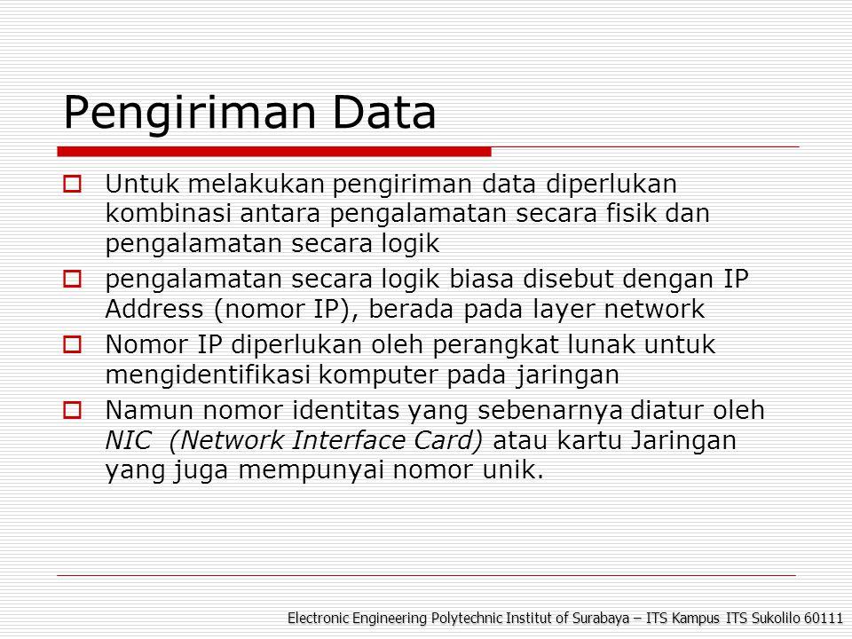Electronic Engineering Polytechnic Institut of Surabaya – ITS Kampus ITS Sukolilo 60111 Pengiriman Data  Untuk melakukan pengiriman data diperlukan k