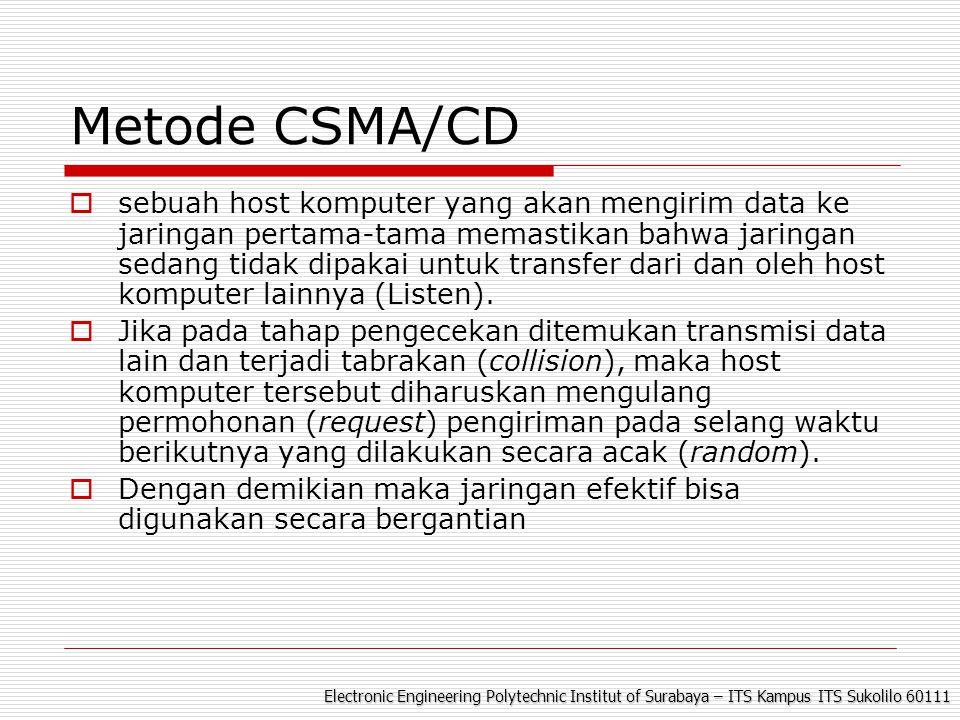 Electronic Engineering Polytechnic Institut of Surabaya – ITS Kampus ITS Sukolilo 60111 Metode CSMA/CD  sebuah host komputer yang akan mengirim data ke jaringan pertama-tama memastikan bahwa jaringan sedang tidak dipakai untuk transfer dari dan oleh host komputer lainnya (Listen).
